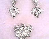 Vintage 1950s Clear Rhinestone Brooch and Chandelier Earrings Set