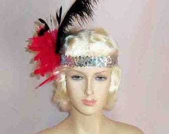 Gatsby Flapper Headband Silver Sequin w/ Red Pom Pom & Black Ostrich Feather