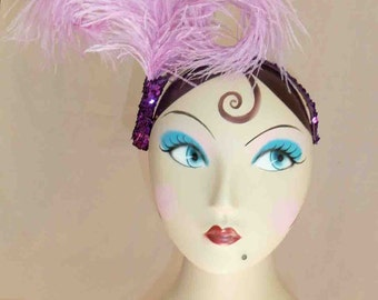 Lavender Lady Double Bent Ostrich Feather Headpiece with Purple Sequins Detailing