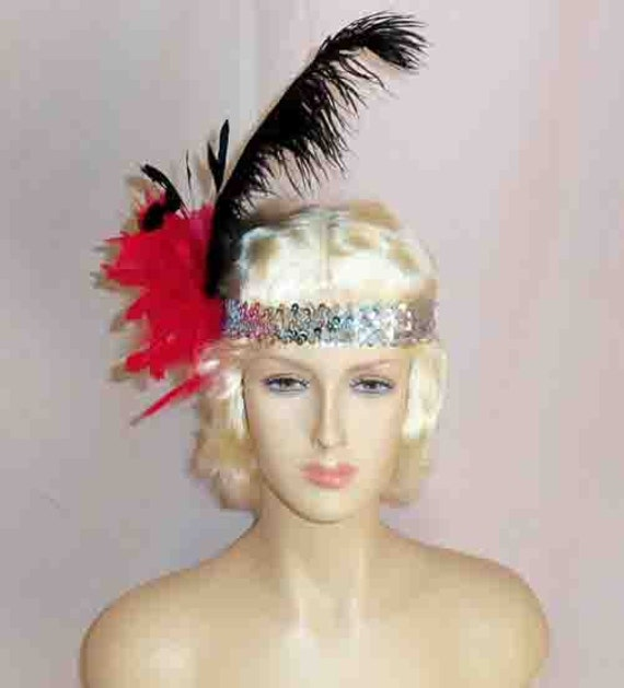 Gatsby Flapper Headband Silver Sequin w/ Red Pom Pom & Black Ostrich Feather