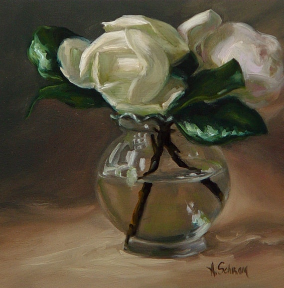 Magnolias in glass vase original oil painting by amy schrom for How to paint glass with oil paint
