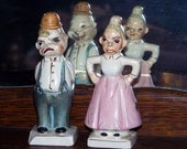Vintage 50s Turnabout Salt and Pepper Shakers  Angry and Happy Old couple