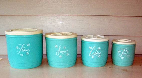 Vintage 60s turquoise canister set perfect for that shabby for 60s kitchen set