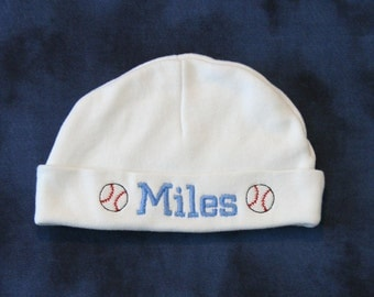 Personalized Newborn Hat Sports Themed