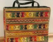 Beautiful Boho Burlap Sack Tote - Colorful