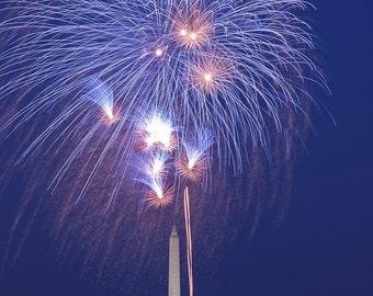 Washington DC Art, Fireworks and Monuments , Fine Art Photograph, Washington dc skyline, Washington dc print, Washington dc photography