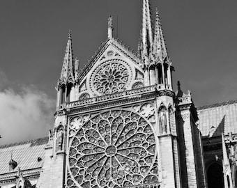 Paris Photography, Notre Dame Rose Window,  Black and White, Fine Art Photography,  Paris Decor