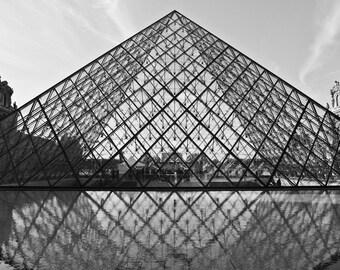 Paris Photography, Louvre Pyramid, Black and White Fine Art Photography. Paris Decor