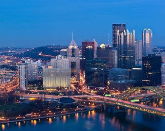 Pittsburgh in Panorama, 12x36 Fine Art Color Print