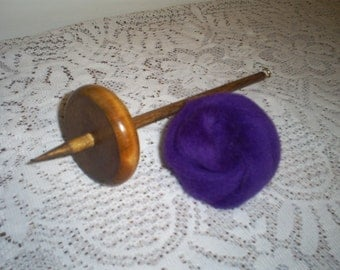 Handmade 2.4oz. Bottom Drop Spindle, Wool Roving and Instruction Kit, Learn To Hand Spin Yarn Free Shipping
