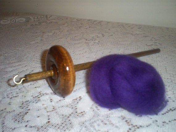 Free Shipping Top Whorl Drop Spindle And Purple Wool Roving Kit For Hand Spinning Yarn With Or Without Notch