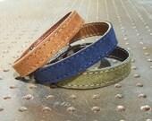 Set Of Three Bracelets / Camel,Blue,Olive Green  Suede Leather Bracelets