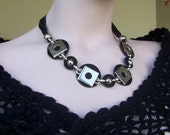 Statement Jewelry,Black Suede Leather Circles Necklace