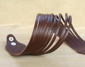 Brown Leather Wrap  Cuff Bracelet,Multi-Strand Genuine Leather Bangle