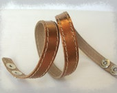 SALE Bronze Smooth Leather Narrow  Double Wrap Bracelet