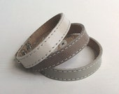 Set Of Three Shades Of Gray Leather Bracelets