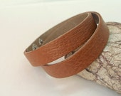 Buy 5 get 1 free / Narrow Double  Wrap  Bracelet . Brown / Caramel  Leather  Cuff