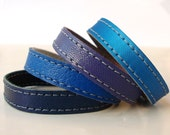 Set  Of  Four Leather Bracelets in Blue Shades