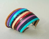 Summer Multi-Colored Leather Bracelet