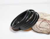 Mini Sliced Black  Leather  Double Wrap Cuff Bracelet