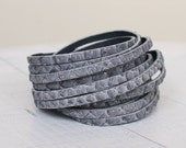 SALE Python  Print Multi Strand Cuff, Grey Snakeskin Print Leather Double Wrap Bracelet
