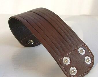 Sliced Brown Leather Cuff Bracelet