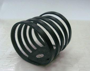 Sliced Black Leather Cuff Bracelet