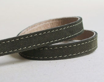 Olive Green Suede Leather Narrow  Double Wrap Bracelet