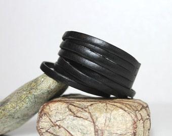 Sliced Black Leather  Bracelet / Double Wrap Leather  Bracelet/ Multi Strand Leather Cuff