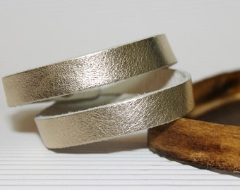 Pale Gold Leather Narrow  Double Wrap Bracelet