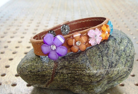 Camel Suede With Colorful Flowers Bracelet