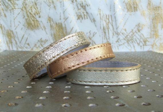 Three  Shades Of Shiny Leather Bracelets