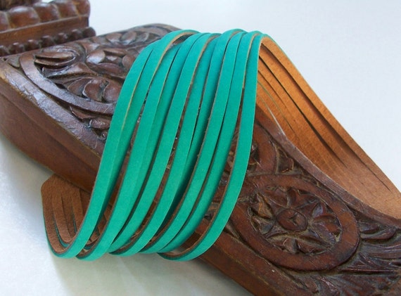 Last Item / Sliced Turquoise Suede Double Wrap Bracelet / Mint Leather  Cuff