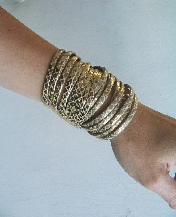 Last Item / Sale / Sliced Gold Leather Double Wrap Cuff Bracelet