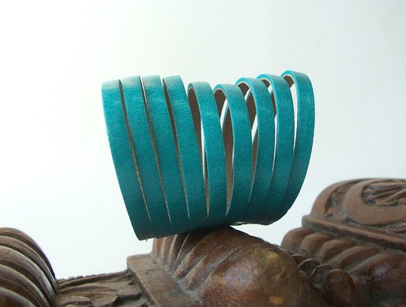 Multi Strand  Leather  Bracelet, Teal  Genuine Leather Cuff