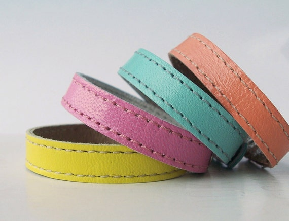 Set  Of  Four Leather Bracelets in Yellow,Pink,Cyan,Salmon Pink