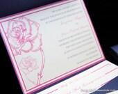 Navy Blue Metallic Pocketfold in Fuchsia Rose