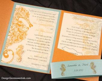 Orange Flame Seahorse in Aqua Pocketfold Wedding Invitation