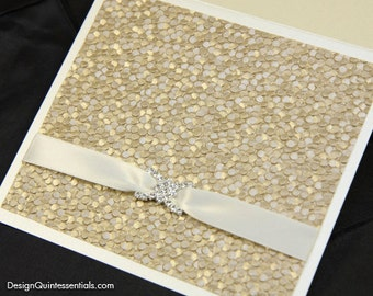 Champagne Embossed Pebble Wedding Invitation in Square Folded Pocket