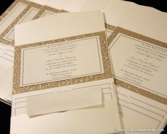 Embossed Pebble Wedding Pocket Fold Invitation Suite