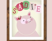 Personalized children's art featuring a proud piggie and your child's name.