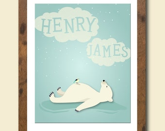 Personalized children's art print featuring a resting polar bear and your childs name in the clouds