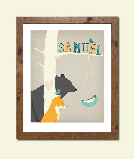 8X10 Personalized children's illustration, woodland animals gazing at a newborn, baby shower gift, nursery art