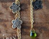 Earrings.Flowers.Green.Chain.Dangle.Trendy Summer.HandmadebyTwigs