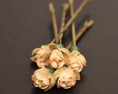 Sunday Rose, Bridal Hair Accessories, Wedding Hair Accessories, Pink Gold Trim Flower, Bobby Pin - Set of 5