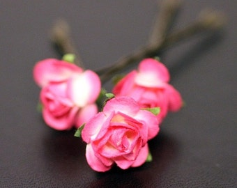 Princess Rose, Bridal Hair Accessories, Bridesmaid Hair Flower, Fuchsia Paper Flower, Brass Bobby Pin - Set of 3
