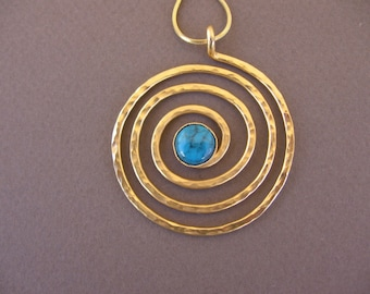 gold spiral Torquoise necklace
