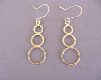 hoops earrings, gold brushed earrings,