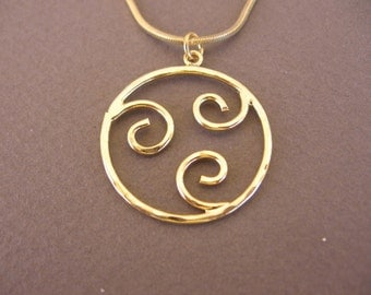 Hammered gold  circle with spirals necklace ,gold hoop,gold necklace only 19 dolars