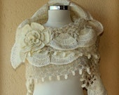 Pearl of Bosphorus/ Ivory Wedding Shawl Crochet Bridal Shawl Wrap Shrug Bolero Cream Ivory Gold Ruffle Shawl Bridal Accessories